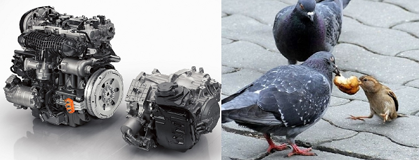 Фото двигателей Вольво V8 AWD (слева) и Т8 (справа)